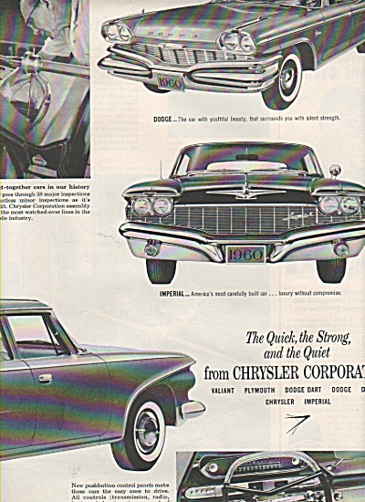 Chrysler Corporation CAR ad 1960 IMPERIAL DODGE +++ (Image1)