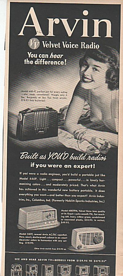 Arvin radios ad 1951 (Image1)