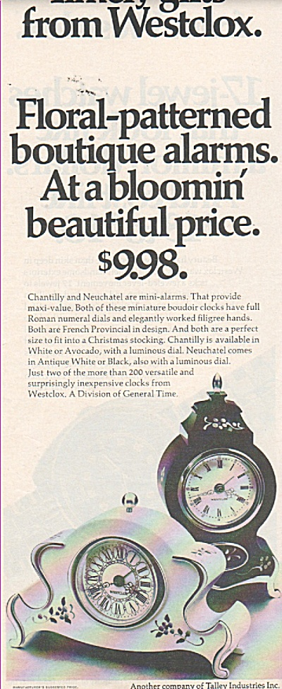 Westclox Clocks Ads 1970