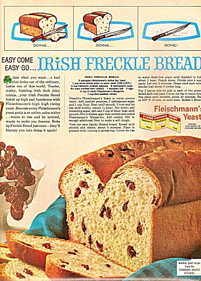 F;eischmann's Yteast - Irish Freckle Bread Ad 1964