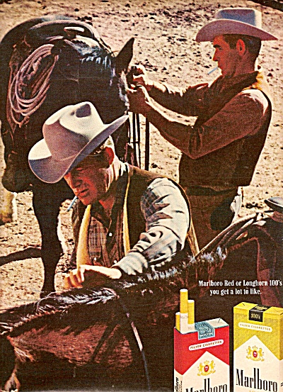Marlboro cigarettes ad 1969 TWO COWBOYS (Image1)