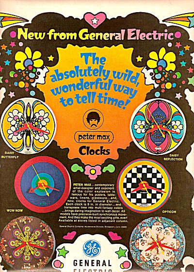 General Elecric Ad 1968 Peter Max Clocks
