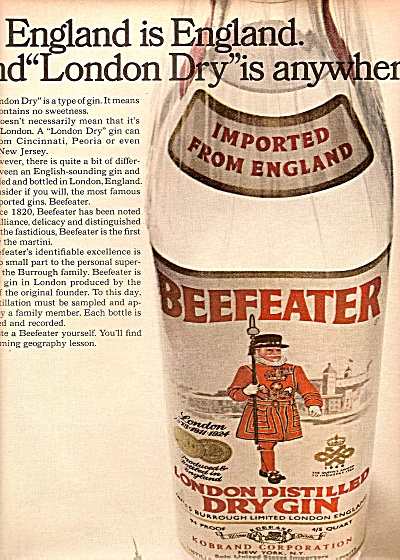 Beefeater London distiled dry gin ad 1968 (Image1)