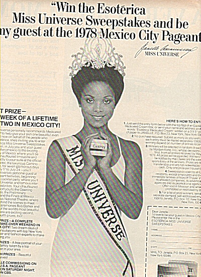 Esoterica Ad 1960 - Miss Universe Pageant