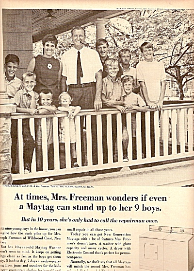 1968 Maytag Washer Dryer Promo AD The FREEMAN Family (Image1)