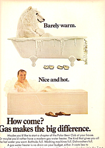 GAS AD BEAR & MAN in BATHTUB ad 1968 (Image1)