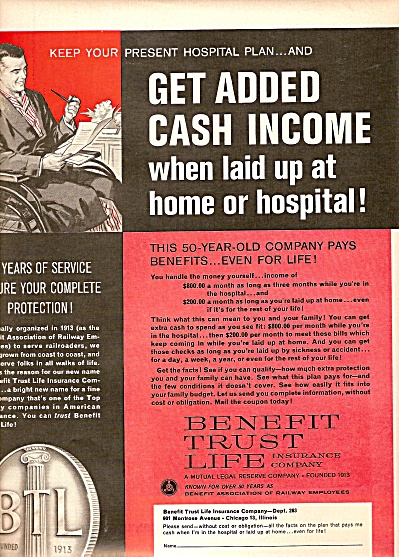 Benefit trust life INSURANCE company ad 1963 (Image1)