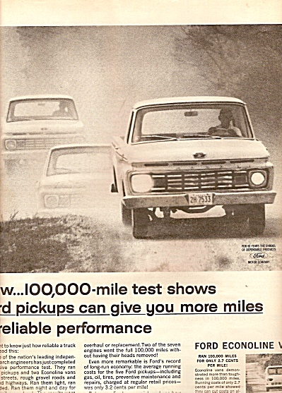 Ford Trucks - 1963 ad RELIABLE PERFORMANCE (Image1)