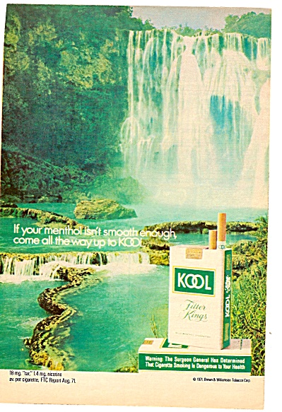 Kool cigarettes ad 1972 WATERFALL (Image1)