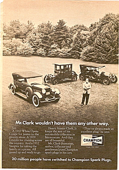 Champion Spark Plugs Ad 1972