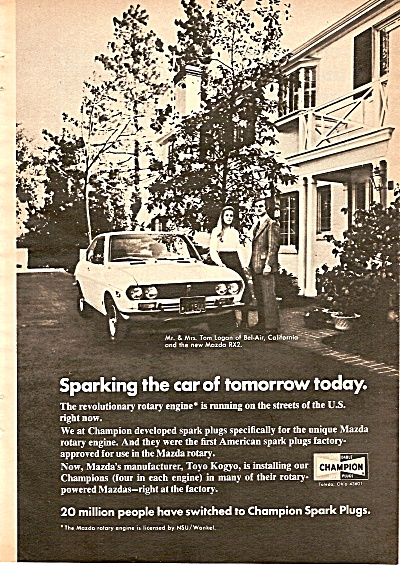 Champion spark plugs ad. 1972 TOM LOGAN (Image1)
