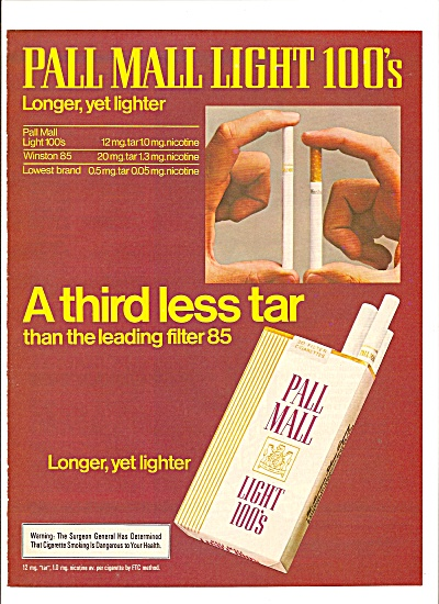 Pall Mall light 100s ad 1980 (Image1)