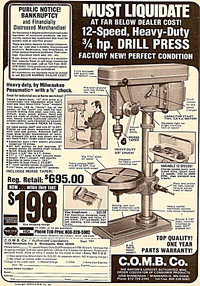C.O.M.B.   Co. Drill press ad 1980 (Image1)