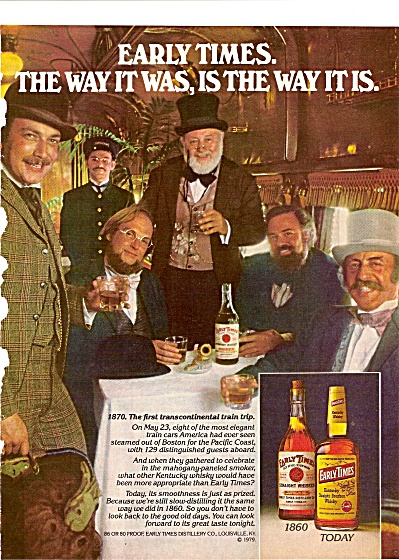 Early Times Whiskeyt- 1980 Ad