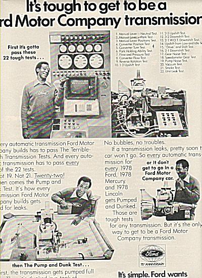Ford Motor company transmission ad 1978 (Image1)