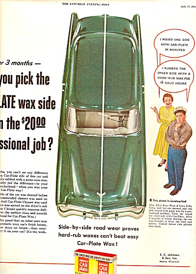 Johnson's car plate cleaner  ad 1954 (Image1)