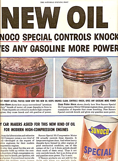 Sunoco special motor oil ad 1954 (Image1)