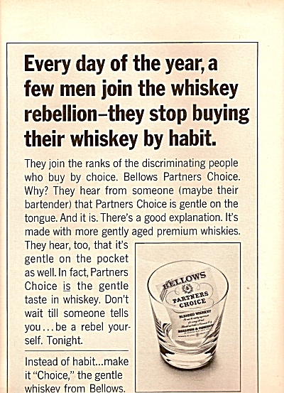 Bellows partners choice whiskey ad 1963 (Image1)