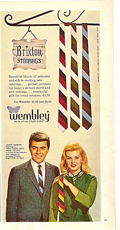 Wemb Ley Ties Ad 1964 - James Darren