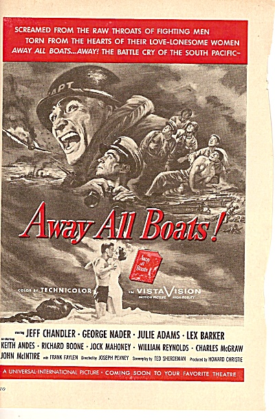 Movie AD  AWAY ALL BOATS - Jeff Chandler 1956 (Image1)