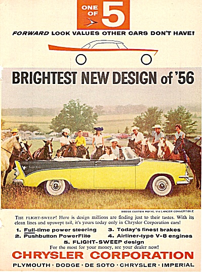 Dodge Custom Royal Convertible Ad 1956