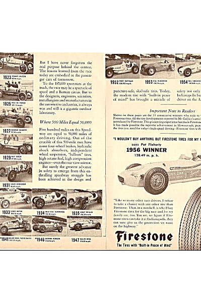 Firestone tires =- 500 Mile Indianapolis raqce - 1956 (Image1)