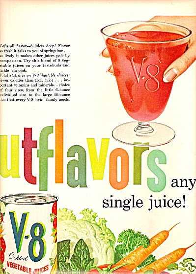 V-8 vegetable juice ad 1960 (Image1)