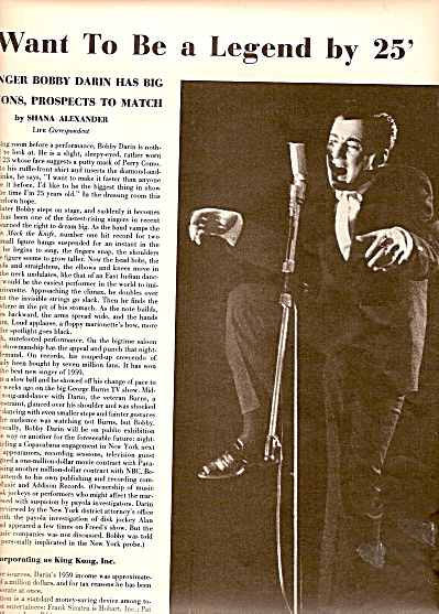 BOBBY DARIN, singer and entertainer story 1960 (Image1)