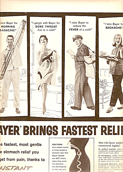 Bayer aspirin ad 1960 INSTANT FLAKING ACTION (Image1)