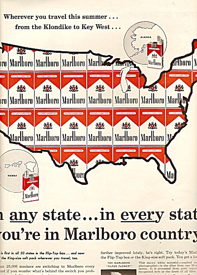 Marlboro cigarettes ad 1961 IN ANY STATE (Image1)