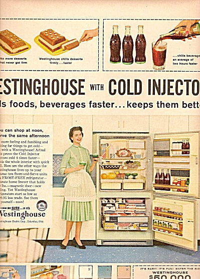 Westinghouse refrigerator with cold injector ad 1958 (Image1)