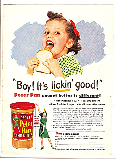 Derby's Peter Pan Peanut Butter Ad 1946