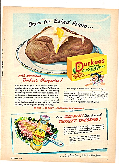Durkee's Vegetable Margarine Ad 1946