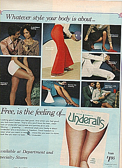 1978 Underalls Panties Ad Black Model
