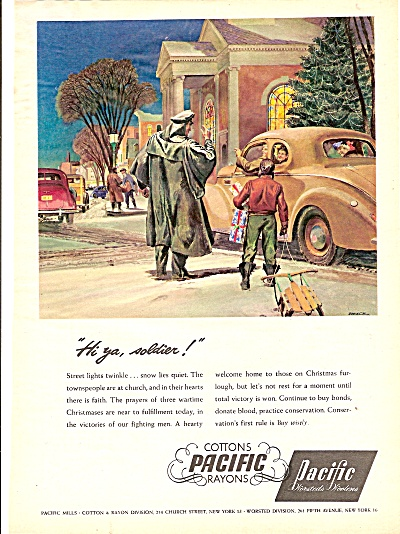 Pacific  Woolens ad 1944 HI YA SOLDIER WWII AD Art (Image1)