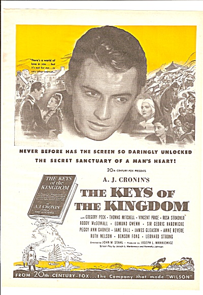 Movie AD: THE KEYS OF THE KINGDOM  -GREGPRY PECK  1944 (Image1)
