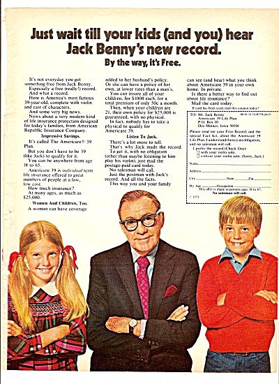 American republic Insurance co. - JACK BENNY  ad 1971 (Image1)