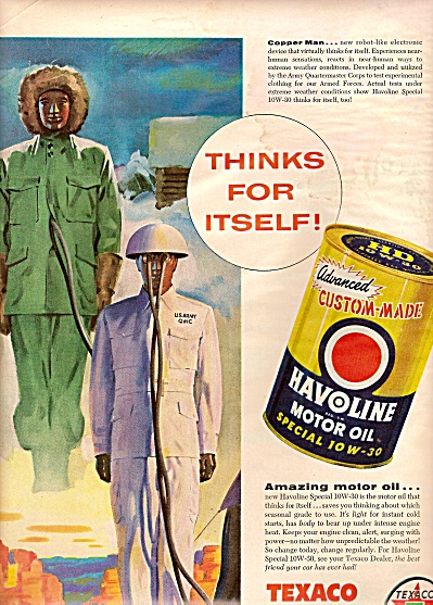 Texaco -havoline Motor Oil Ad 1956
