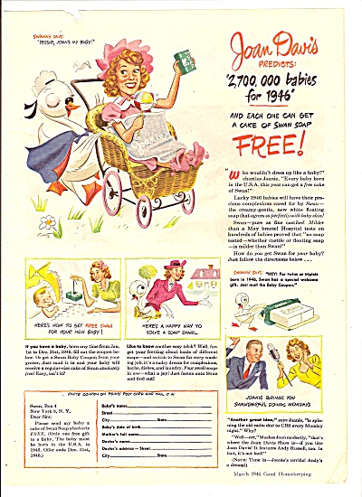 Swan soap - JOAN DAVIS -  AD 1946 ARTWORK (Image1)