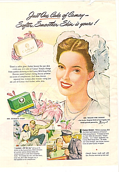 Camay soap ad 1946 MRS. WILLIAM KIRK STEWART LA CAL (Image1)