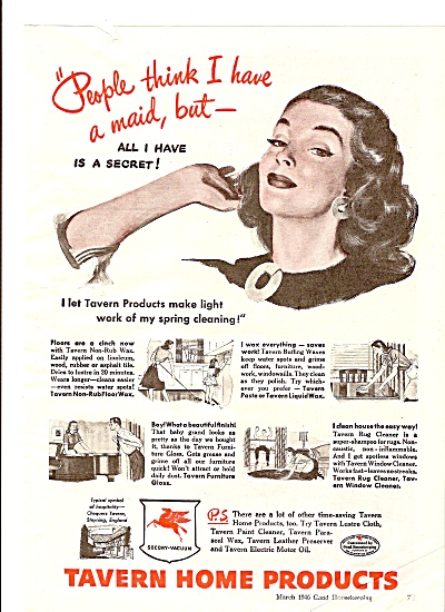 Tavern home products ad 1946 PEOPLE THINK I HAVE A MAID (Image1)
