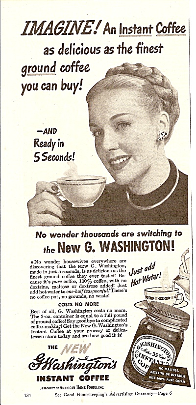 G Washington Instant Coffee Ad 1946