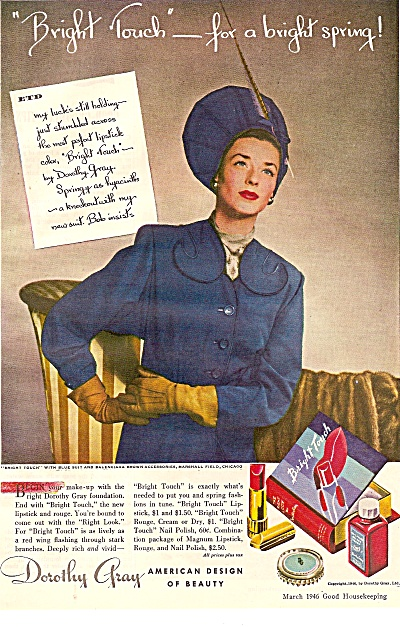 Orothy Gray Lipstickand Rouge Ad 1946