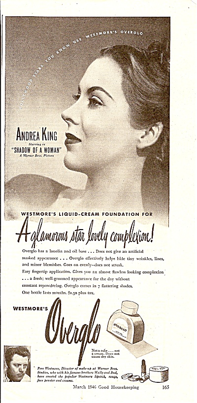 Overglo liquid cream foundation - WEstmore's  ad 1946 (Image1)