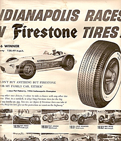Firestone Tires - Indianapolis Races Ads 1956