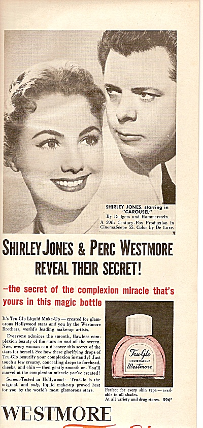 Westmore Tru glo make up - SHIRLEY JONES  ad 1956 (Image1)