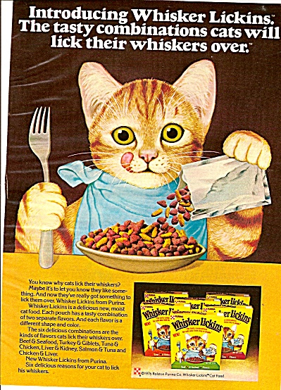 Whisker Lickins cat food ad 1975 (Image1)