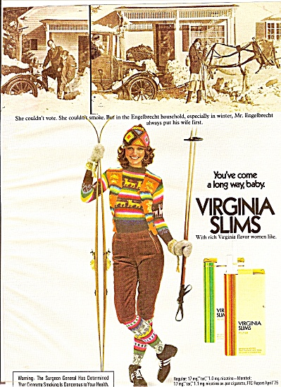 Virginia slims cigrettes ad 1975 CHERYL TIEGS SKIER (Image1)
