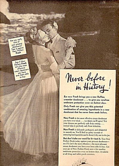 Fresh deodorant ad 1947 LOVLIER TO LOVE (Image1)