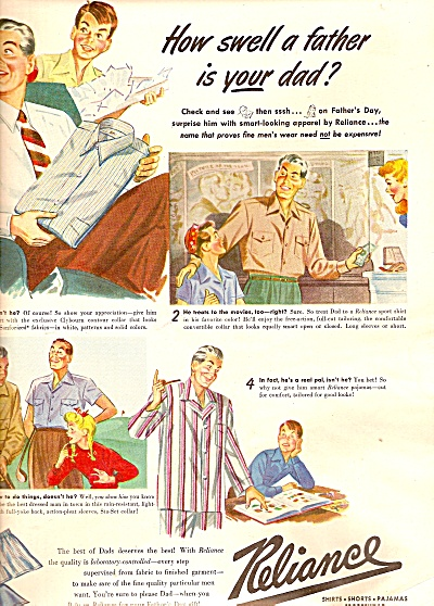 Reliance Shirts, Pajamas, Sportswear Ad1947